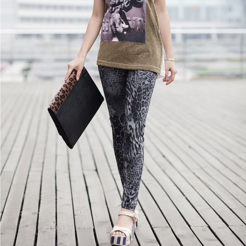 Leopard print faux denim legging ankle length trousers multicolour slim warm price tight pant - Maya Fashion store