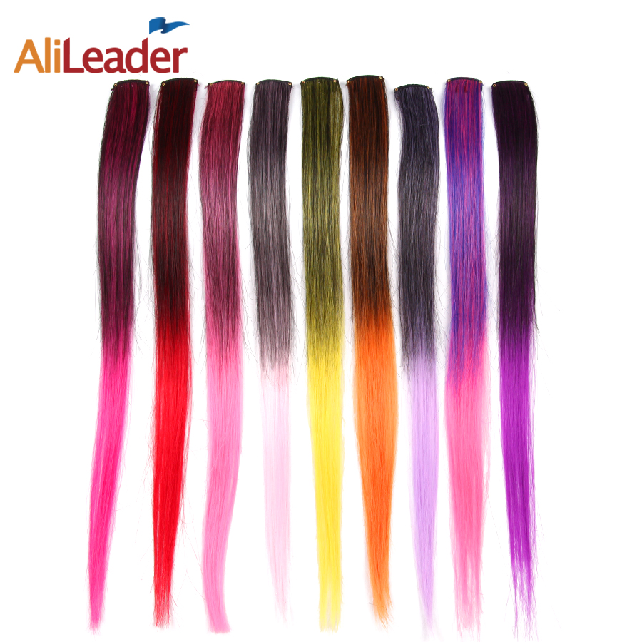 AliLeader 50CM Long Straight 2 inch width 1 Clip 1 Piece Clip In Hair Extensions Synthetic Fake Hair Pieces Ombre Two Tone Color(China (Mainland))
