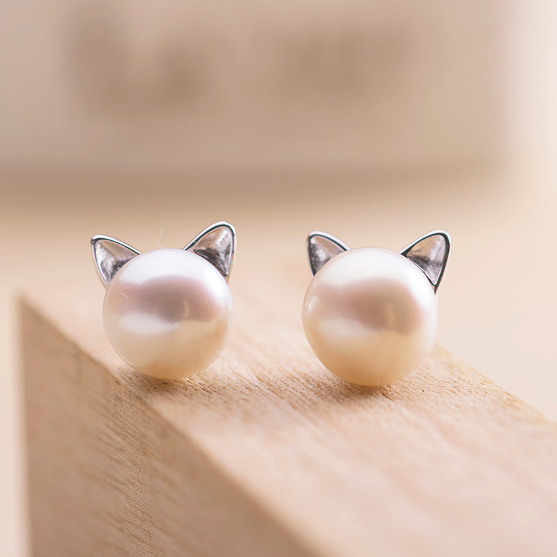 2016 High Quality 925 Sterling Silver Lovely Imitation Pearl Cat Stud Earrings Pendientes Brincos For Women Hot Fashion Jewelry(China (Mainland))