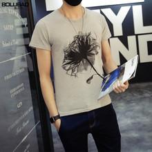 2016 Hot Sale Brand Clothing T-shirt Men Summer Fashion Flower Printed Men T Shirt Casual O- Neck T Shirt Men Free Shipping