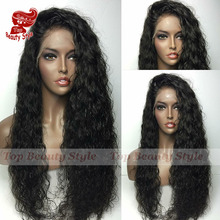 Hot!Afro Loose Curly Synthetic Lace Front Wig Natural Black Heat Resistant Fiber Hair Wig Curly Synthetic Wigs For Black Women(China (Mainland))