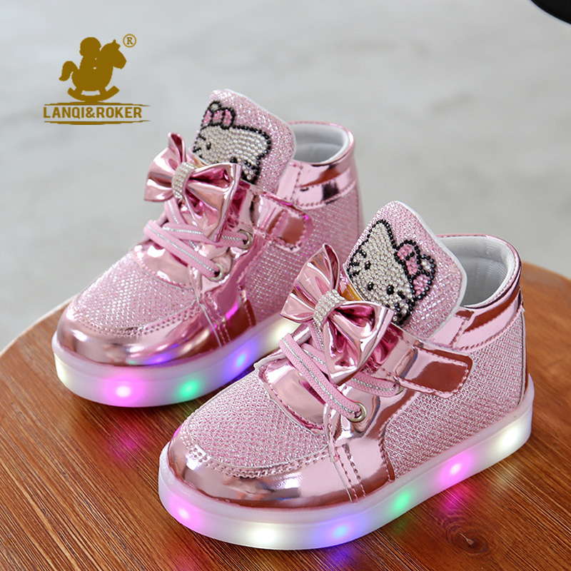 2017 New Cheapest Spring Autumn Winter Children's Sneakers Kids Shoes Chaussure Enfant Hello Kitty Girls Shoes With LED Light(China (Mainland))