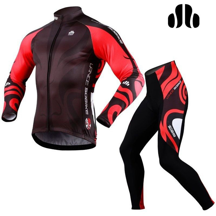 LANCE SOBIKE Men Outdoor Sports Bicycle Bike Cycling Suits Fleece Thermal Long Sleeve Jersey Jacket Winter Tights Pants Cothing<br><br>Aliexpress