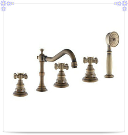 5pc Antique Brass Bathtub Faucet Three Handles with Hand Shower papel de parede listrado(China (Mainland))
