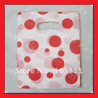 Free Shipping/New cute Red dots 25*20cm plastic shopping bags/Portable gift wrap/gift packaging bag/Wholesale(China (Mainland))