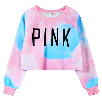 2015 Hot Sexy Crop Women Hoodies PINK Letters Printed Dazzle Colour Female Cotton Short Hoodies Thin Casual Sweatshirts