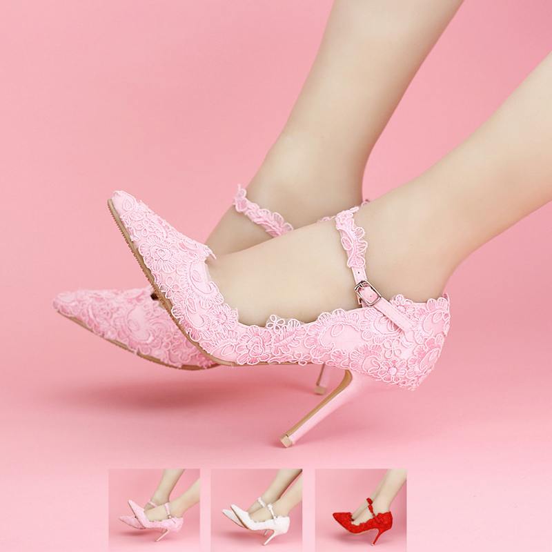 Pink Lace Wedding Shoes Pointed Toes Spring Bridal Shoes Ankle Strap Formal Dress Shoes Women High Heels Bridesmaid Shoes