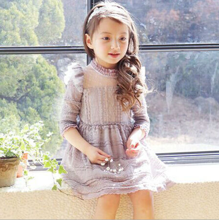 2015 New Summer Korean Design Three Quarter Ruffles Lace Little Girl Princess Dress Children Voile Dress Gray Pink(China (Mainland))