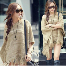 2015 Sexy Hollow Out Bat Sleeves Knit Pullover Autumn Winter Women Cape Poncho Sweater Tassel Fringed Shawl BM1431(China (Mainland))