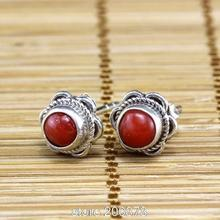 T9115 Nepal Handmade 925 Sterling Silver Inlaid Natural Red Coral Lovely Flower Earrings,Nepal vintage jewelry lady gift(China (Mainland))