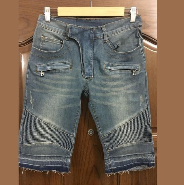 Сзт стильная мужская мода красный стретч-джерси ребристые байкер короткие джинсы размер 28 - 40 ( # 1609 )