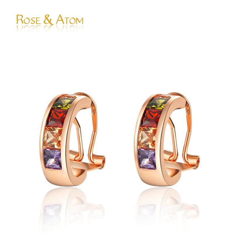 2016 New Hot Women Stud Earrings Rose Gold Sapphire Crystal Wedding Jewelry Cz Diamond Ear Buckle Earring For Women pendiente(China (Mainland))