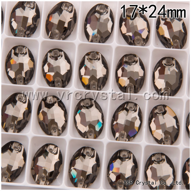 17*24mm 36pcs/box Oval Shape Black Diamond Color Crystal Loose Glass FlatBacks Sew on Rhinestones(China (Mainland))