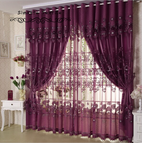 Quality flower purple curtain fashion modern brief sheer curtain with blackout lining curtains free shipping(China (Mainland))