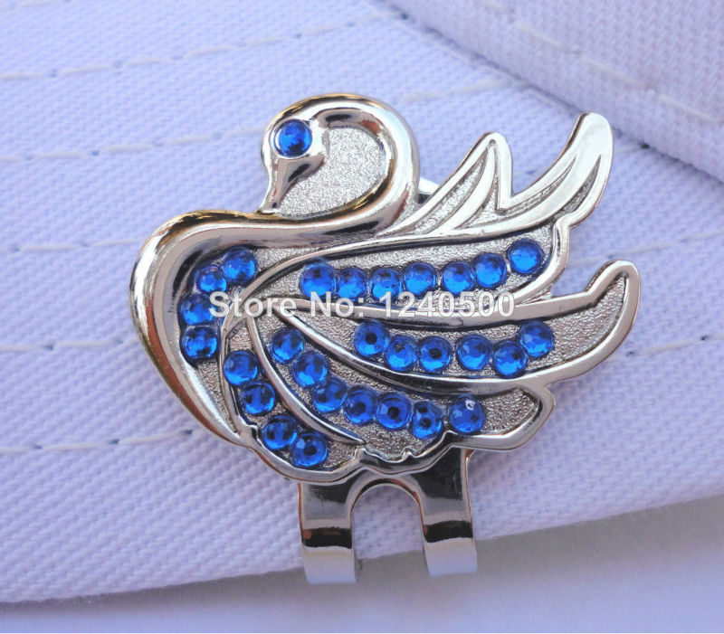 Free Shipping Blue Crystal Swan Golf Ball Marker W/ Bonus Magnetic Hat & Visor Clip ^d2^(China (Mainland))
