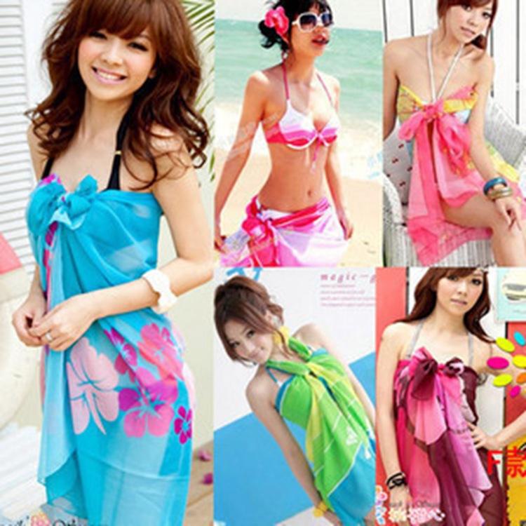 Women Summer Dress Ladies Chiffon Wrap Sarong Beach Swimwear Swimsuit Beach Bathing Suit Cover Up Bikini Scarf Pareo for Xmas(China (Mainland))