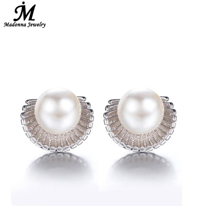 2016 New Korean Style Silver Plated Quality Artificial Pearl Stud Earrings Ocean Scallops Women Ear Jewelry Wholesale(China (Mainland))