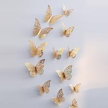 12 шт./компл. 3D стены стикеры бабочка полые Бумага 3 размера цвет серебристый, золотой для на холодильник наклейки Home вечерние Свадебный декор...(China)