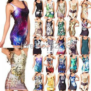 Palicy 2014 Summer Nice Clubbing Funky Dresses Casual Dancers Galaxy Vest TOP Party Dress Digital Printed Clothes Free Shipping(China (Mainland))