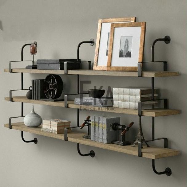LOFT style retro solid wood hanging rack / American bookshelf / wall shelf(China (Mainland))