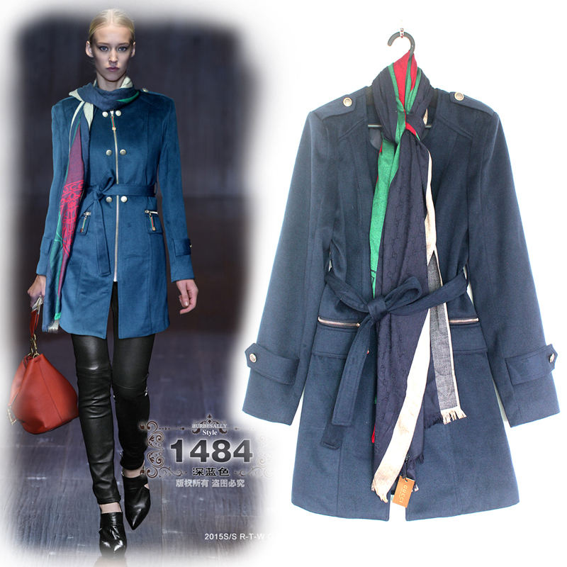 New Stunning Free Shipping 2014 Winter Long Sleeve Luxury Women Coat  zipper Elegant silm woolen Jacket with Scarf Одежда и ак�е��уары<br><br><br>Aliexpress