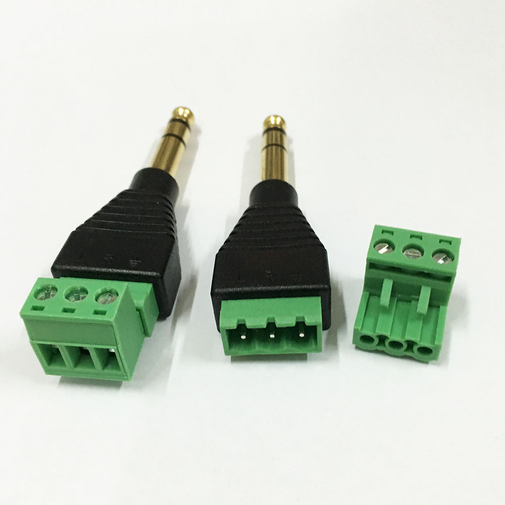 10Pcs Video AV Balun 6.35mm Stereo Male to AV Screw Terminal Stereo Jack Plug 6.35mm Male 3 Pin Audio 2-Part Set Connector(China (Mainland))