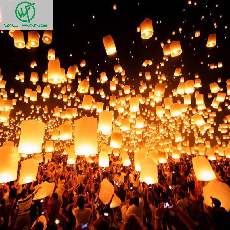 10pcs White Paper Chinese Lanterns Fire Sky Flying Paper Candle Wish Lamp for Birthday Wish Party Wedding Decoration(China (Mainland))
