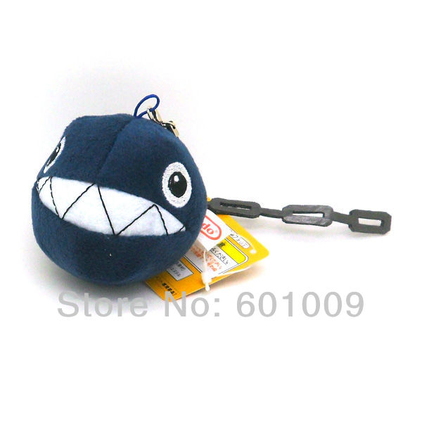 """Free Shipping 30/Lot New Super Mario Bros. Plush Chain Chomp 3"""" Charm Straps for Cell Phone iPod MP3 Wholesale(China (Mainland))"""