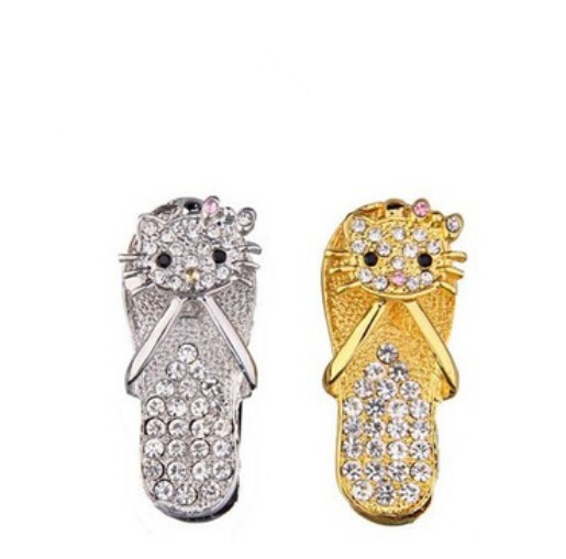 Kawaii New Crystal Cat Slipper Personalized Model usb 2.0 memory flash stick pen drive for gift(China (Mainland))
