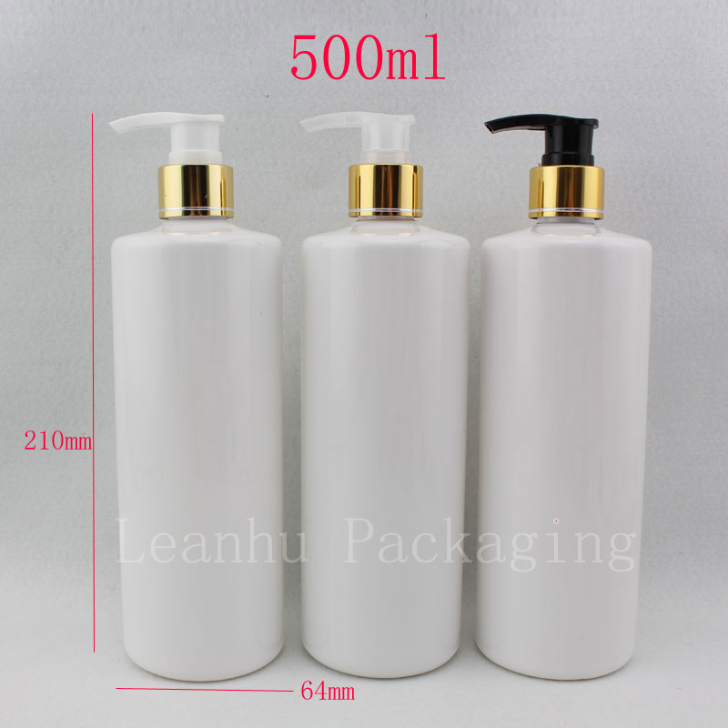500ml X 12 empty white cosmetic PET aluminum lotion luxury bottles ,gold shampoo pump bottle packaging container - Packaging E shop store