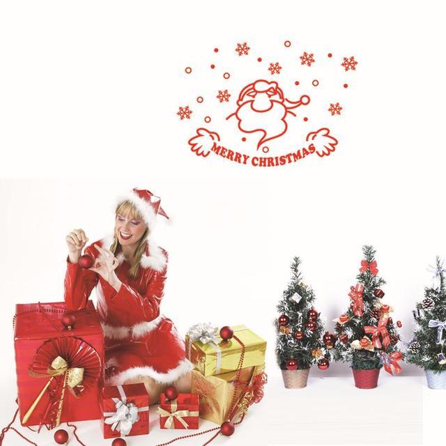 Лучшие продажи новогодние украшения стены винила окно наклейки санта-клауса таблички подарок mas18
