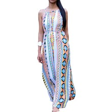 Women Floral Boho Dress V-Neck Evening Party Long Maxi Beach Summer Dresses(China (Mainland))