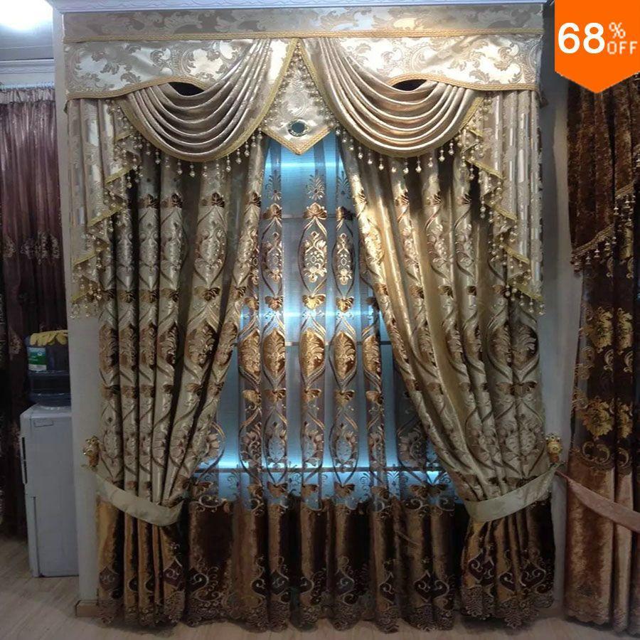 Acheter nouveau duba luxe magn tique rideau pour le salon golden broderie porte - Rideaux de perles pour portes ...
