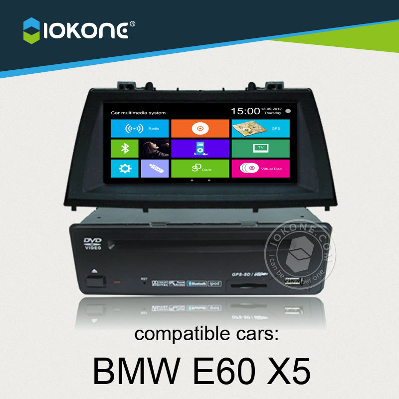 IOKONE Car Video DVD CD Stereo Player For BMW E60 X5 With FM/AM,Bluetooth,GPS,iPod,Steering Wheel Control FREE SD map card(China (Mainland))