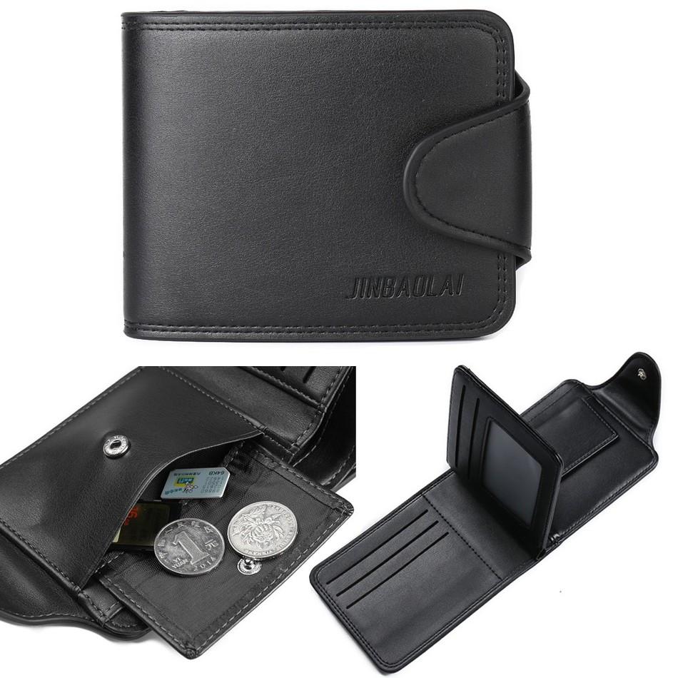 New Design Business Leisure Men's Wallets Super Quality Black Brown Solid Color Hasp Credit Card Holder Coin Pocket Purse Wallet(China (Mainland))