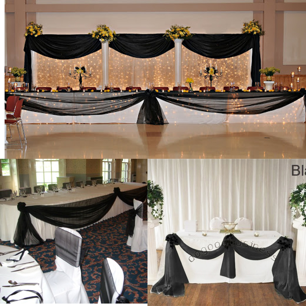 Color Black wedding backdrop table curtain10M*1.35M Sheer Organza Swag Fabric wedding decoration ,wedding backdrop table curtain(China (Mainland))