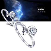 Best Quality Zodiac Star Signs 12 Constellations Shaped Adjustable Opening Silver Plated Ring 5UEZ 6SSD