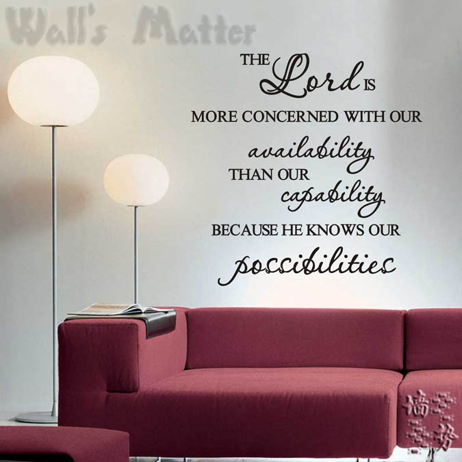 [i story]-free shipping Lord knows our possibilities Classic decoration stickers,Wall Decal Quote Lettering Art Words sticker(China (Mainland))