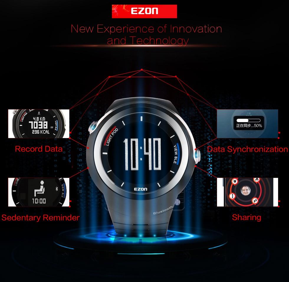 EZON мужская электронные часы интеллектуальные Bluetooth шагомер, чтобы напомнить спорт Цифровые Наручные Часы S2 Запуск для IOS Android