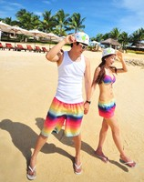 New 2014 polyester rainbow Stripe lovers beach shorts Casual pants swimwear shorts women/man