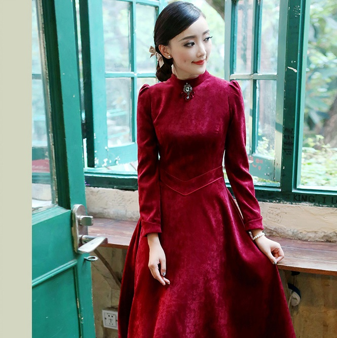 2016 New spring and summer style women dress velvet solid clothing long maxi stand dresses vestido de renda red dresses WD356(China (Mainland))
