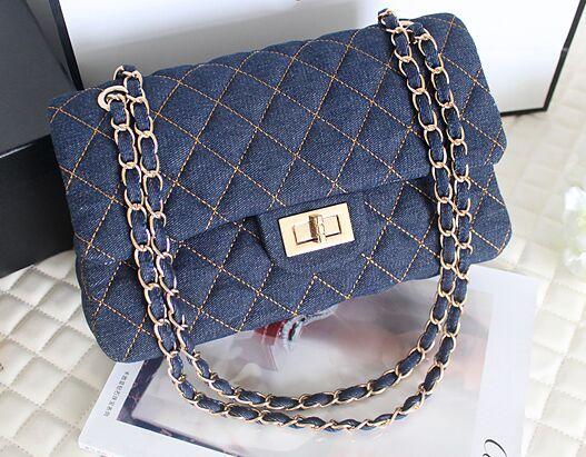 Высокого класса люкс шва лепешек цепи качества джинсовые, Классический мода новый женский сумка, Леди сумки