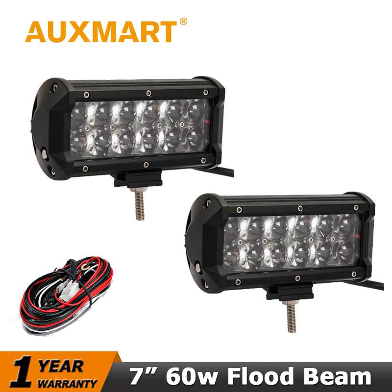 Auxmart 60W OSRAM Chips LED Work Light Bar Flood Beam Fit 12V 24V Car Truck 4WD SUV ATV 4x4 Offroad Driving Lamp +Wiring Harness(China (Mainland))