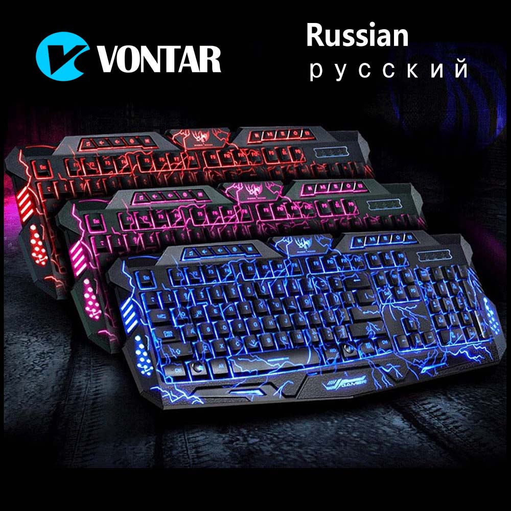 VONTAR M200 Russian English Gaming Keyboard 3 Colors Backlight USB Wired Keyboard with Adjustable Brightness for Computer(China (Mainland))