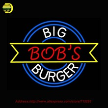 Big Bobs Burger Neon Sign Neon Bulbs Sign Glass Tube Lamp Handcrafted Decorate Food Shop Advertise Beer Pub Arcade Signs 24x20(China (Mainland))