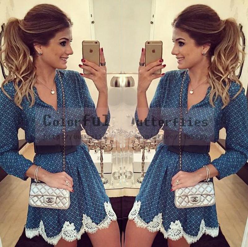 Autumn 2015 new fashion women geometric print dresses casual V-neck long sleeved white lace patchwork vintage vestidos plus size(China (Mainland))