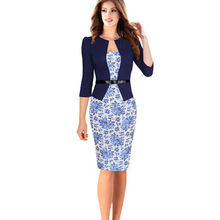 New Womens Elegant Faux Twinset Belted Pencil Dresses Belted Tartan Floral Leopard Dot Work Business Pencil Sheath Bodycon Dress