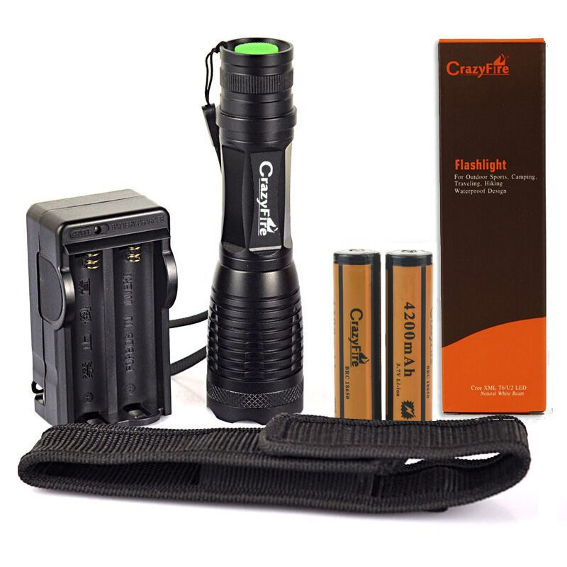 CrazyFire Handheld Flashlight Cree Xml- T6 Water Resistant Adjustable Focus Tactical Torch Light With 18650 Battery Charger(China (Mainland))