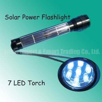 Energy Save!Free Shipping New Super Solar Power Recharge Flashlight 7 Led Fashion Torch Solar Hand Light Wholesale/Retail