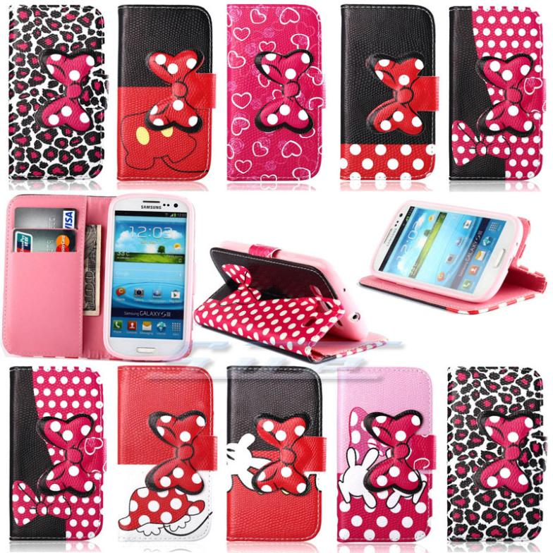 Pretty Love Heart Bowknot Leopard Skin Leather Flip Card Wallet Case Cover For Samsung Galaxy S3 SIII I9300 Cell Phones Bags(China (Mainland))